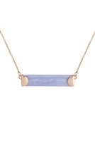S7-6-3-B2N7195BLA - STONE BAR PENDANT NECKLACE-BLUE6PCS