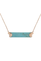 S7-6-3-B2N7195TQ - STONE BAR PENDANT NECKLACE-TURQUOISE/6PCS