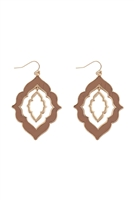 S25-2-2-B3E2201DPK-MOROCCAN SHAPE CAST CORK LINK HOOK EARRINGS-DUSTY PINK/6PCS