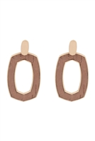 S25-2-2-B3E2202DPK-OVAL SHAPE CAST CORK POST EARRINGS-DUSTY PINK/6PCS