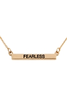 "S24-2-4-B3N2162FEGD - ""FEARLESS"" CHAIN METAL BAR NECKLACE - GOLD/6PCS"