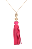 S25-8-1-B3N2174FU - PU LEATHER TASSEL METAL HAMMERED NECKLACE - FUCHSIA/6PCS