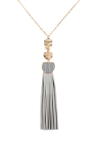 S25-8-1-B3N2174LGRY - PU LEATHER TASSEL METAL HAMMERED NECKLACE - LIGHT GRAY/6PCS