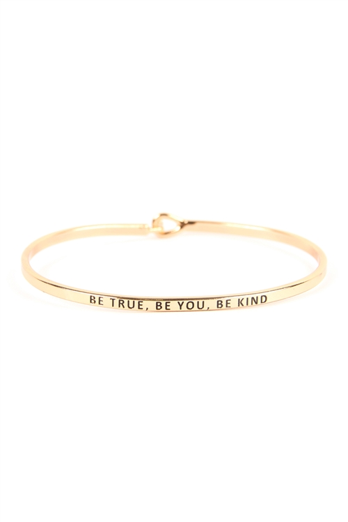S22-13-1-B4258GD - BE TRUE, BE YOU, BE KIND HINGE CUFF BRACELET GOLD/6PCS