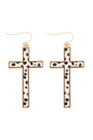S24-2-4-B4E2417XCHIV-CROSS SHAPE REAL CALF HAIR LEATHER HOOK EARRINGS-CHEETAH IVORY/6PCS