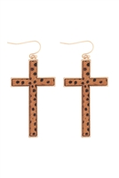 S24-2-4-B4E2417XCHTAN-CROSS SHAPE REAL CALF HAIR LEATHER HOOK EARRINGS-CHEETAH TAN/6PCS
