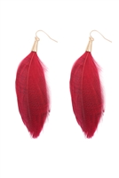 S23-4-4-B4E7002BGD-FEATHER TASSEL HOOK EARRINGS-BURGUNDY/6PCS