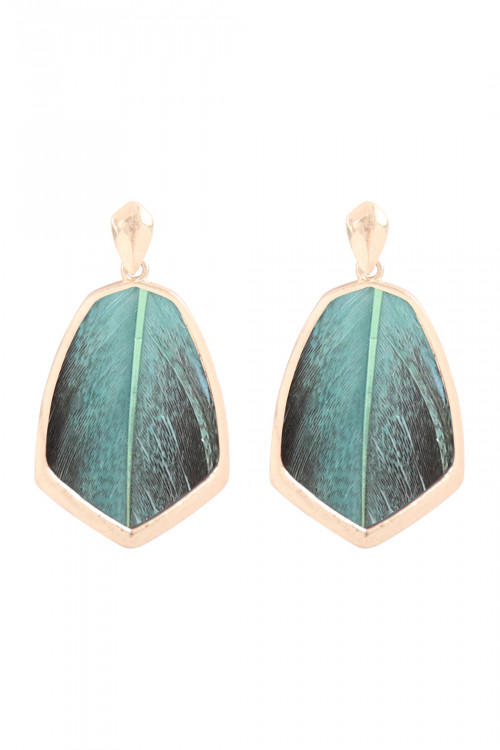 S23-4-4-B4E7021-GRN-SHIELD FEATHER POST EARRINGS-GREEN/6PAIRS