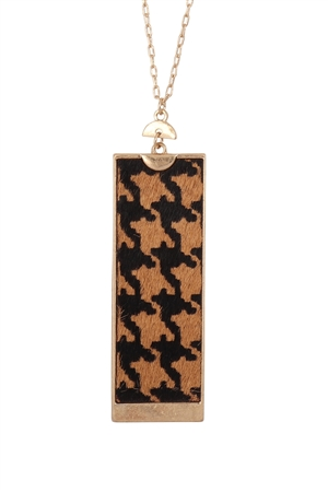 S24-2-4-B4N2416XLBRN-RECTANGLE SHAPE REAL CALF LEATHER PENDANT NECKLACE-LIGHT BROWN/6PCS