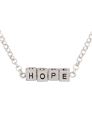 "S17-2-3-B4N2706HPRH-SILVER ""HOPE"" SQUARE BLOCK LETTERING PENDANT NECKLACE/6PCS"