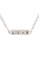"S17-2-3-B4N2706LORH-SILVER ""LOVE"" SQUARE BLOCK LETTERING PENDANT NECKLACE/6PCS"