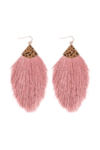 S1-3-1-B5E2239DPK - REAL CALF CHEETAH HAIR PRINT W/ FEATHER SHAPED THREAD TASSEL EARRINGS - DUSTY PINK/6PCS