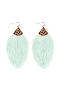 S1-4-4-B5E2239MT - REAL CALF CHEETAH HAIR PRINT W/ FEATHER SHAPED THREAD TASSEL EARRINGS - MINT/6PCS
