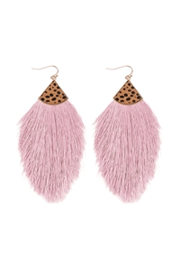S1-4-4-B5E2239PKLAV - REAL CALF CHEETAH HAIR PRINT W/ FEATHER SHAPED THREAD TASSEL EARRINGS - PINK LAVENDER/6PCS