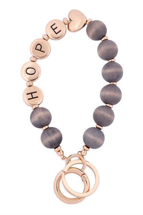 "S1-2-2-B5K2047HPLGRY - ""HOPE"" WOOD BEAD METAL PENDANT KEYCHAIN  BRACELET - LIGHT GRAY /6PCS"