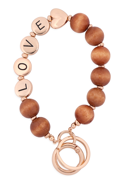 "S1-1-1-B5K2047LOVLBRN - ""LOVE"" WOOD BEAD METAL PENDANT KEYCHAIN  BRACELET -  LIGHT BROWN/6PCS"