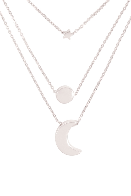 S1-2-2-B5NS2189SV - STAR MOON AND SUN  3 SET NECKLACE-SILVER/6PCS
