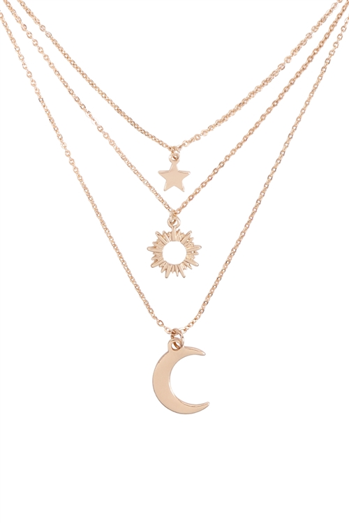 S1-3-3-B5NS2190GD - STAR MOON AND SUN  3 SET NECKLACE-GOLD/6PCS