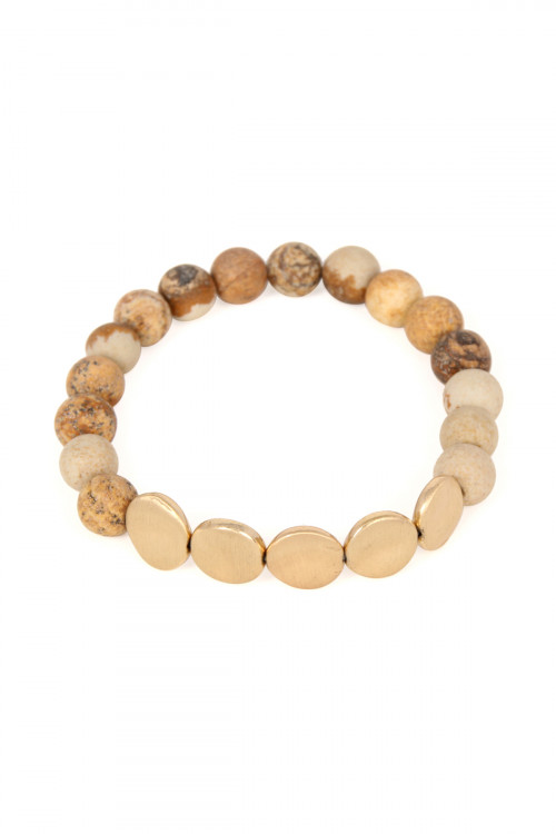 S6-4-4-AB6278WG-NAT NATURAL NATURAL STONE STRETCH BRACELET/6PCS