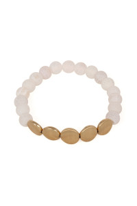S6-4-4-AB6278WG-WH WHITE NATURAL STONE STRETCH BRACELET/6PCS