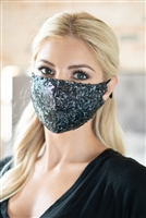 S22-13-4-BMSK2000BK-SEQUIN GAUZE FACE MASK-BLACK/6PCS