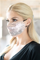 S22-13-4-BMSK2000DGD-SEQUIN GAUZE FACE MASK-ROSE GOLD/12PCS