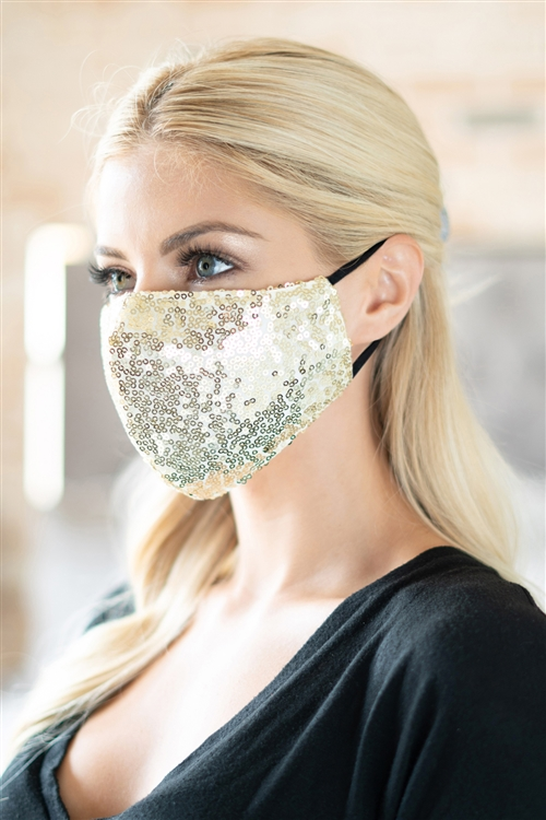 S19-12-3-BMSK2000G-SEQUIN GAUZE FACE MASK-GOLD/12PCS