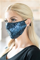 S20-12-3-BMSK2000NV-SEQUIN GAUZE FACE MASK-NAVY/12PCS