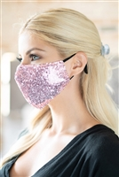 S19-12-3-BMSK2000PK-SEQUIN GAUZE FACE MASK-PINK/12PCS