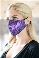 S22-13-4-BMSK2000PU-SEQUIN GAUZE FACE MASK-PURPLE/12PCS