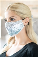 S19-12-3-BMSK2000S-SEQUIN GAUZE FACE MASK-SILVER/12PCS