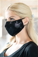 S19-12-3-BMSK2001BK-SEQUIN GAUZE FACE MASK-BLACK/12PCS