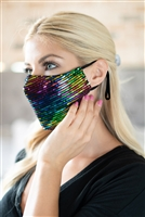 S20-12-3-BMSK2001MY-SEQUIN GAUZE FACE MASK-MULTICOLOR/6PCS