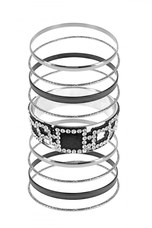 S1-2-1-LBBR39-0085SCL SILVER BLACK MULTI LINE 9PCS FASHION BRACELETS SET/3SETS