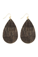 S22-8-5-CE1185WGBLK - CORK FISH HOOK TEARDROP EARRINGS - BLACK/6PAIRS