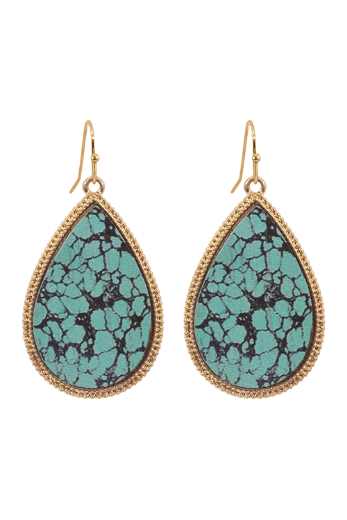 "SA4-2-2-CE1884WGTQS - 1.5"" SEMIWOOD FISH HOOK TEARDROP EARRINGS - TURQUOISE BLACK6PCS"