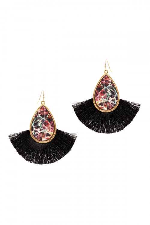 A1-2-3-ACE1942WGMLT MULTI COLOR SEMI WOOD FISH HOOK THREAD TASSEL TEARDROP EARRINGS/6PAIRS