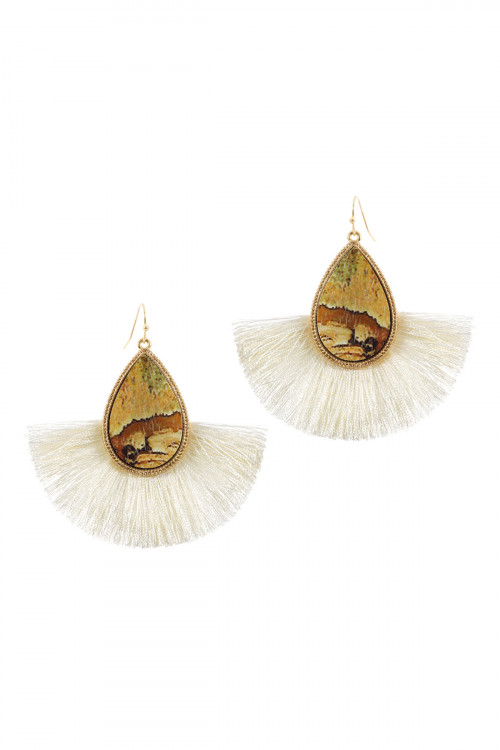 A1-2-3-ACE1942WGPJA BROWN SEMI WOOD FISH HOOK THREAD TASSEL TEARDROP EARRINGS/6PAIRS