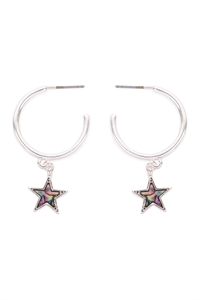 S6-6-2-CE19476SAB - STAR HOOP MOP EARRINGS-SILVER ABALONE/6PCS