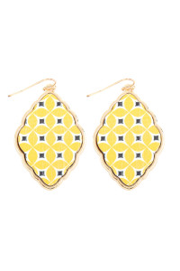 S7-5-4-ACE2041GDYEW YELLOW WOOD MOROCCAN FISH HOOK BAROQUE EARRING/6PAIRS