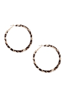 S22-5-3-CE2707GDBEG - METAL ANIMAL PRINT HOOP EARRINGS - BEIGE/6PCS
