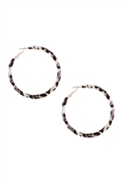S22-5-3-CE2707GDBNW - METAL ANIMAL PRINT HOOP EARRINGS - BLACK AND WHITE/6PCS