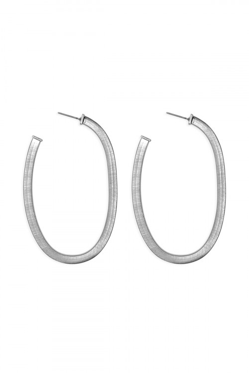 A2-2-4-ACEA064RHST RHODIUM 1.75 INCH 'U' PIPE SATIN FINISH HOOP EARRINGS/6PAIRS