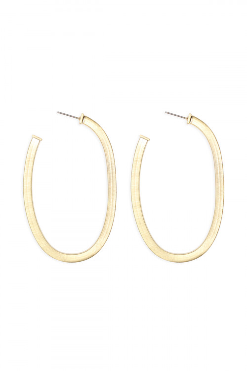 A2-2-4-ACEA064WGST GOLD 1.75 INCH 'U' PIPE SATIN FINISH HOOP EARRINGS/6PAIRS