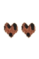 S24-8-1-CEA315WGMBR - HEART LEOPARD LEATHER POST EARRINGS MATTE BROWN/6PCS