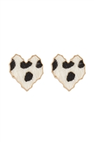 S24-8-1-CEA315WGMWH - HEART LEOPARD LEATHER POST EARRINGS MATTE WHITE/6PCS