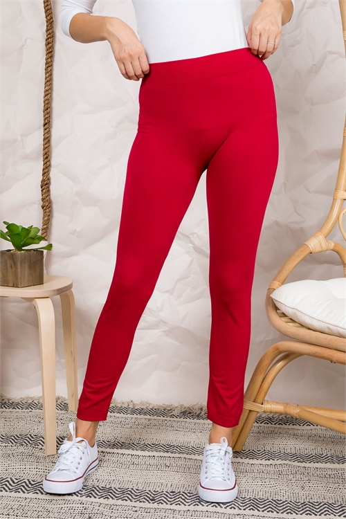 S7-1-4-FAB11802W RED THICK WINTER FABRIC LEGGINGS / 9PCS