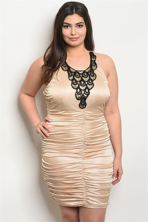 S10-7-3-D9428X NUDE BLACK PLUS SIZE DRESS 2-2-2