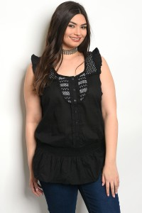 S11-12-5-T1557X BLACK PLUS SIZE TOP 2-2-2
