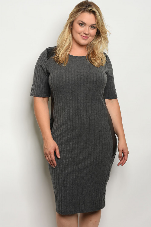 C28-A-5-D10520X GREY BLACK PLUS SIZE DRESS 2-2-2